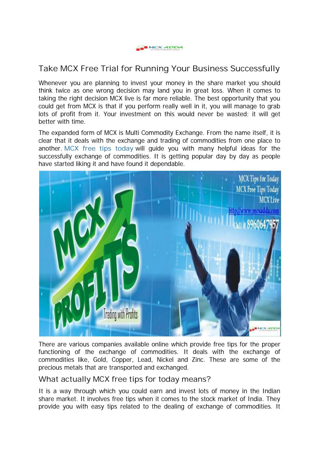 Get MCX Free Tips Today by MCX Market Expert by Rahul Kumar - issuu