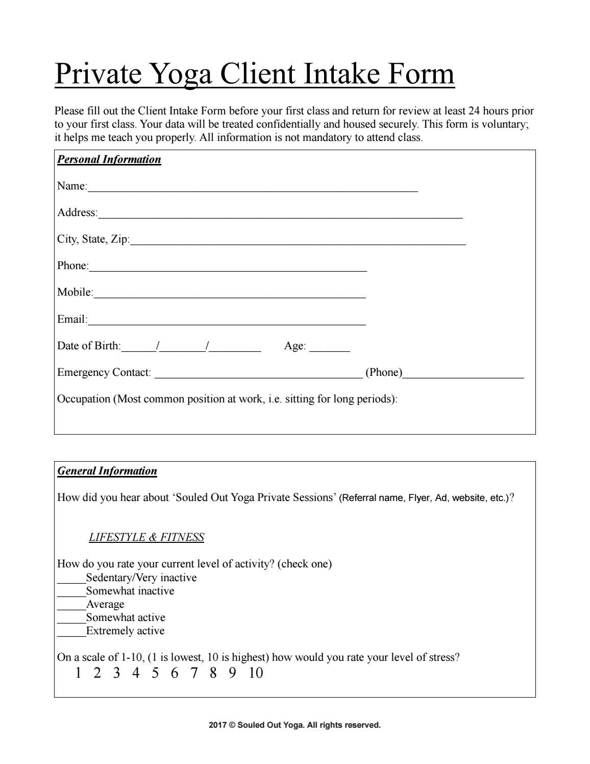 private yoga client intake form by souledoutyoga