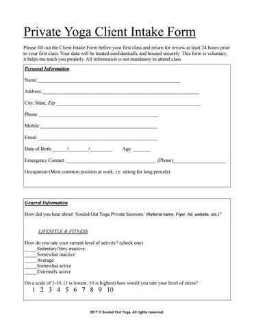 Private Yoga Client Intake Form by SouledOutYoga - issuu