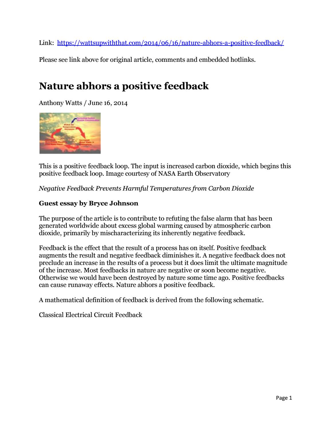 Nature Abhors A Positive Feedback Bryce Johnson By John Negative Schematic Shanahan Issuu