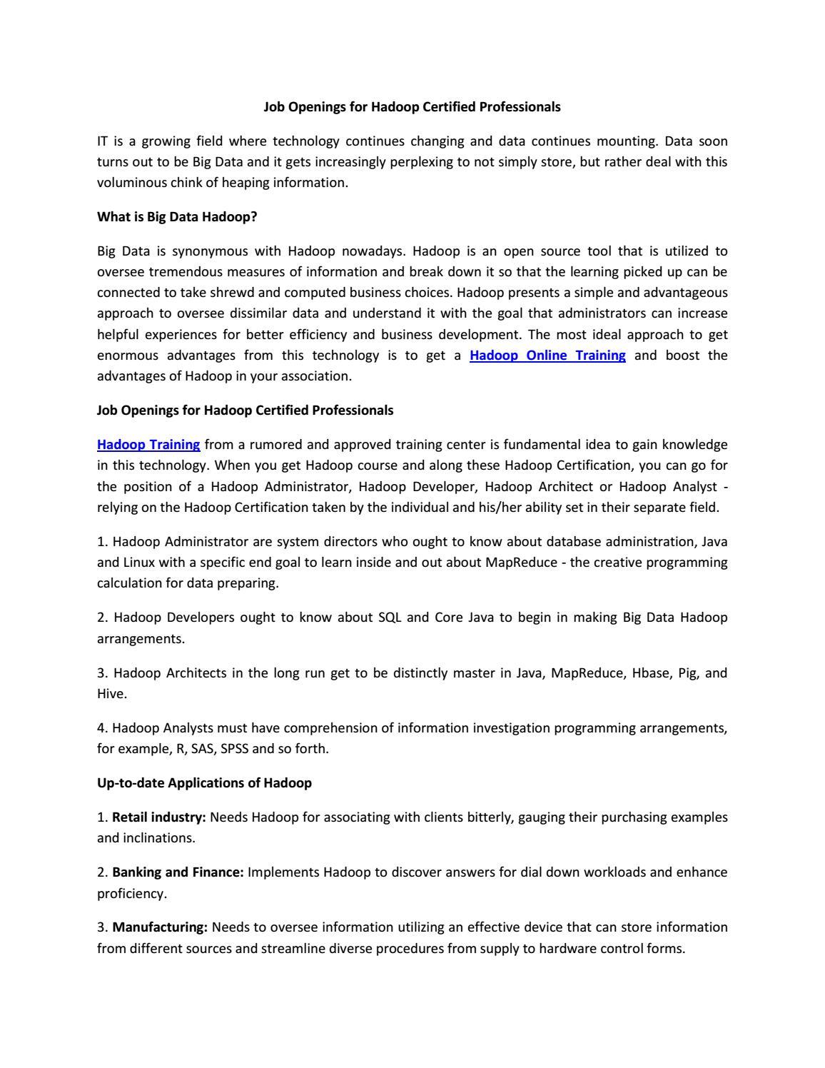 Hadoop Online Training By Nancy Priya Issuu