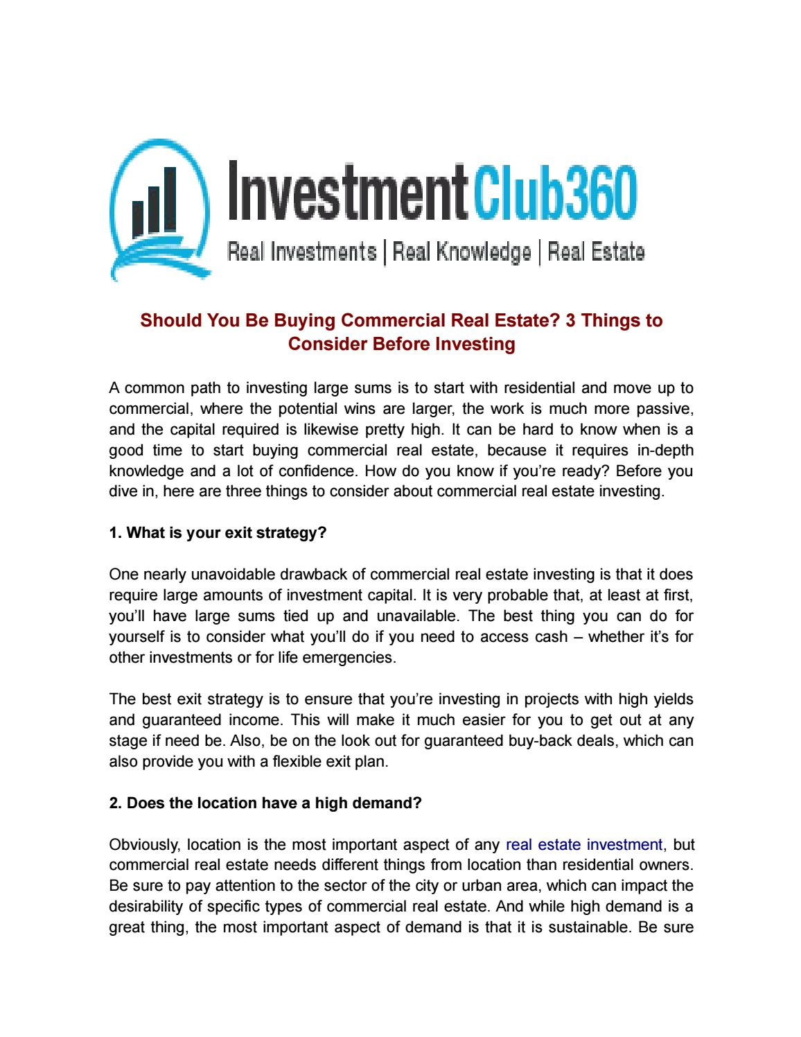 Should you be buying commercial real estate 3 things to consider should you be buying commercial real estate 3 things to consider before investing by investment club360 issuu solutioingenieria Choice Image