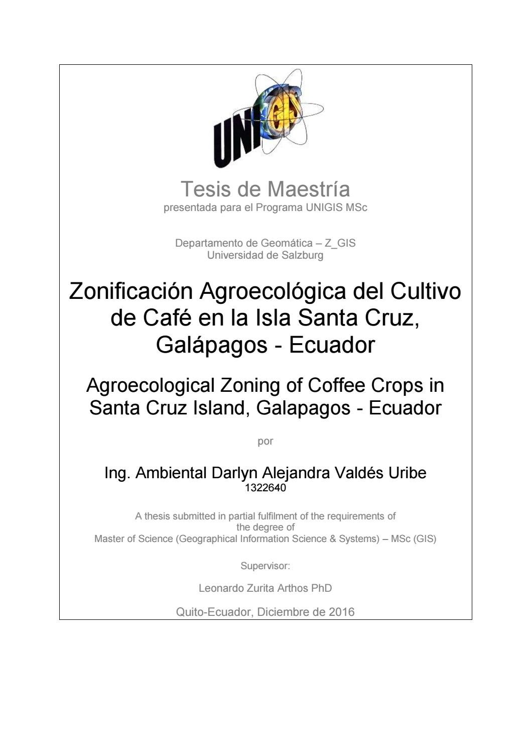 Agroecological Zoning Of Coffee Crops In Santa Cruz Island