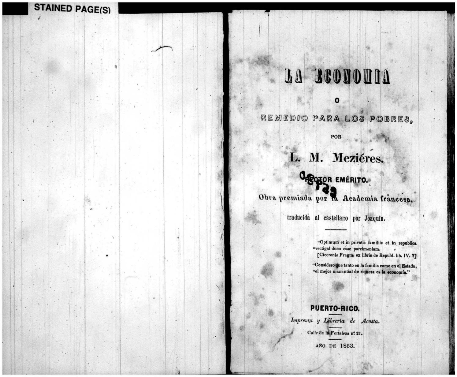 La economía o remedio para los pobres (1863) by Colección Puertorriqueña  UPR RP - issuu