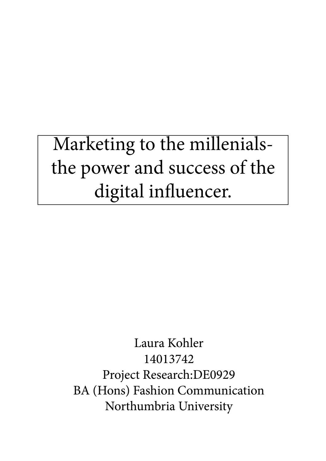 Marketing To The Millennial Dissertation By Laura Kohler Issuu Influencer Topics