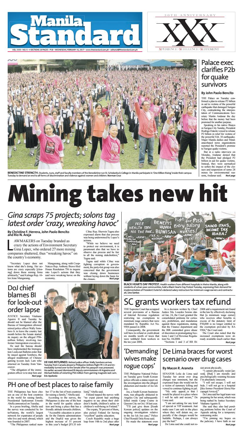 Manila Standard - 2017 February 15 - Wednesday by Manila Standard