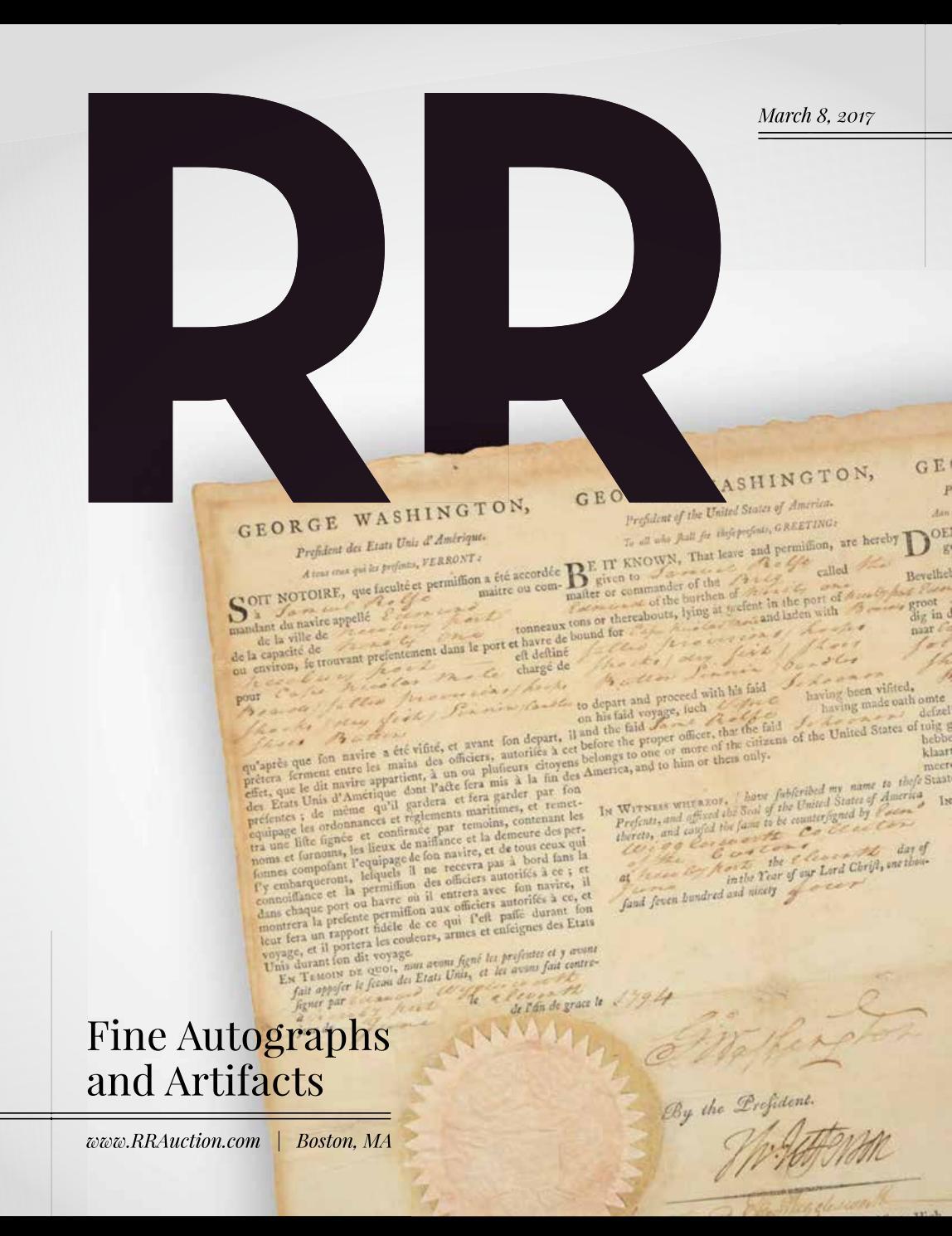 Rr Autograph Auctions Consignment Agreement: RR Auction: March 2017 Fine Autograph And Artifact Auction
