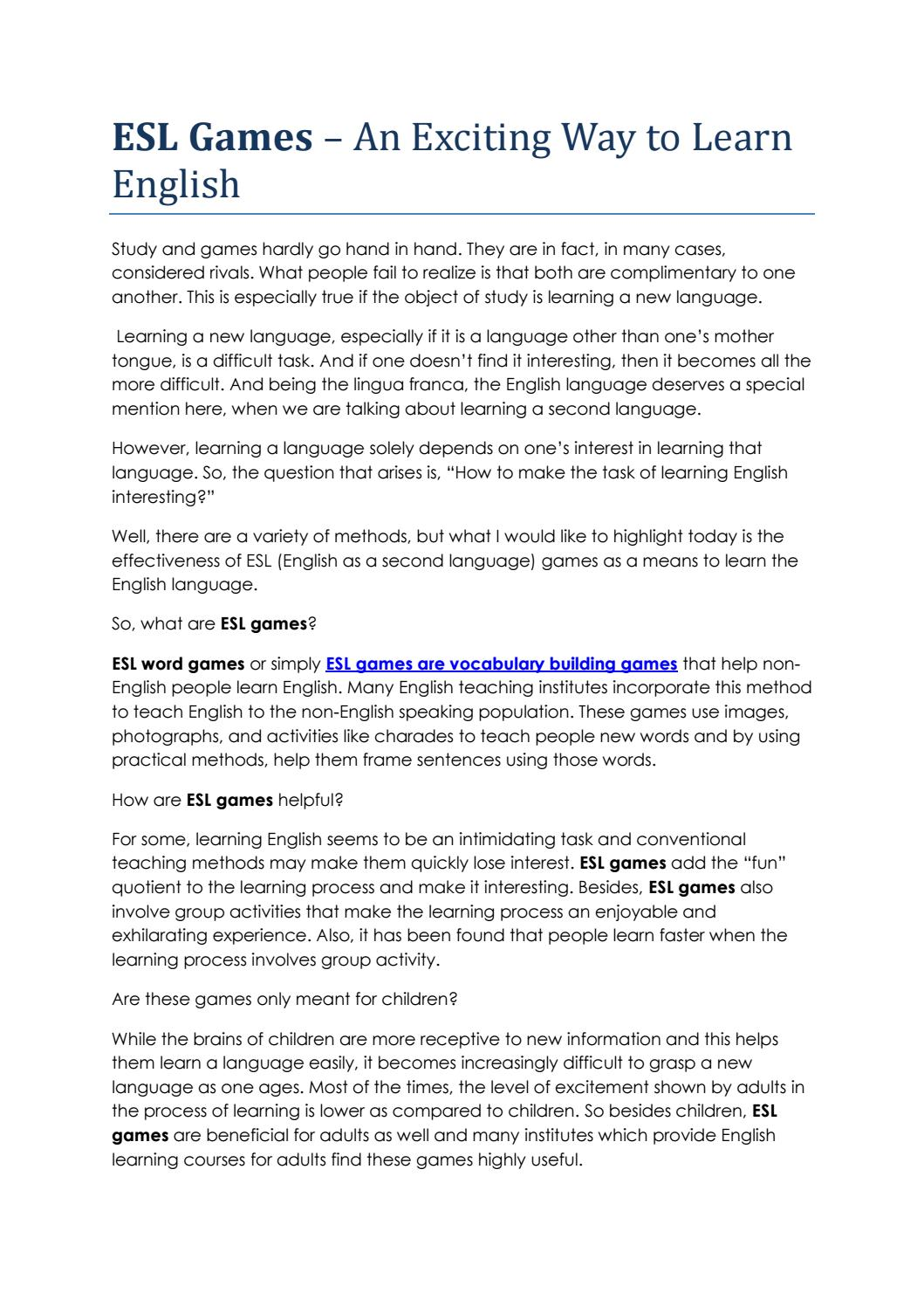 ESL Games – An Exciting Way to Learn English by douglas kritzik - issuu