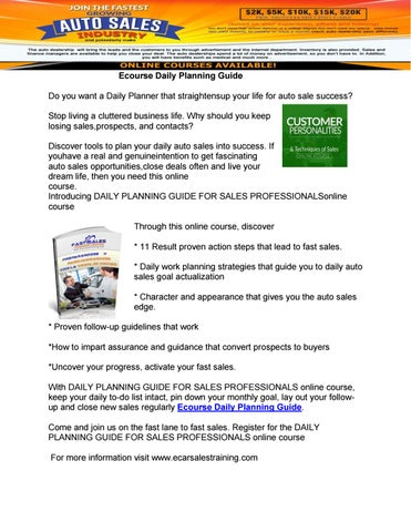 ecourse daily planning guide by e car sales training issuu