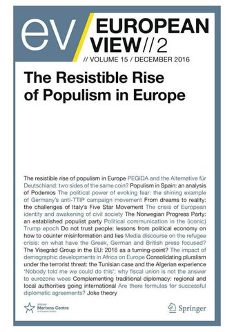 EUROPEAN VIEW: The Resistible Rise of Populism in Europe by