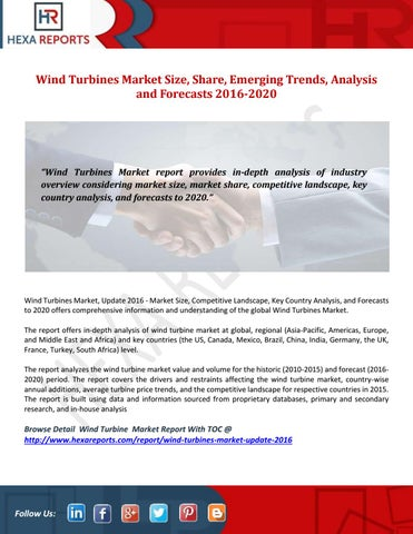 Wind turbines market size, share, emerging trends, analysis