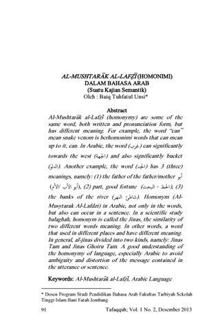 06 Homonim Dalam Bahasa Arab By Tafaqquh Jurnal Penelitian Dan