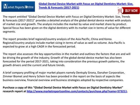 Global Dental Device Market with Focus on Digital Dentistry