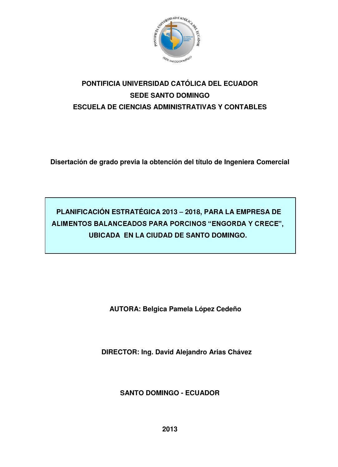 Planificación estratégica 2013 - 2018, para la empresa de alimentos ...