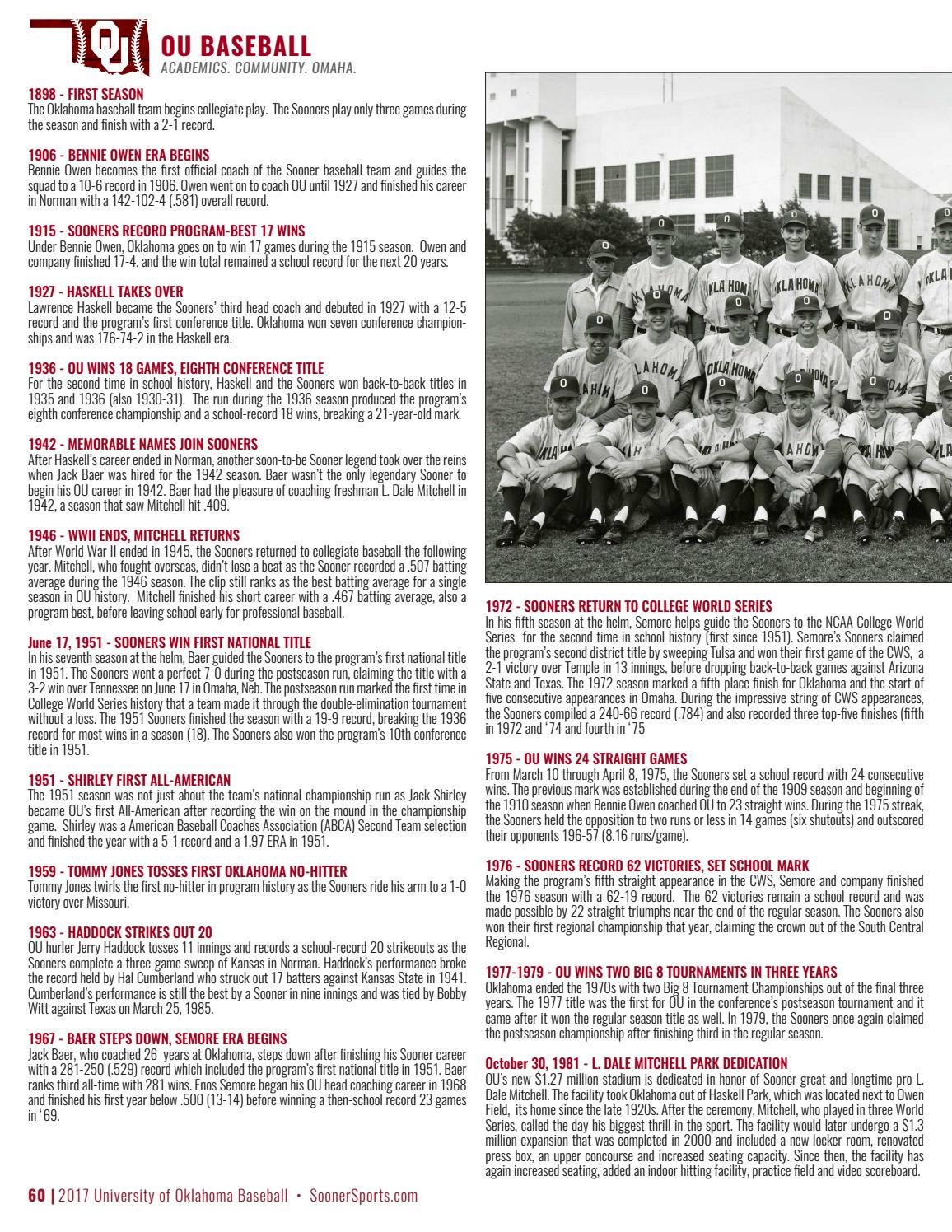 2017 Oklahoma Baseball Media Guide By Ou Athletics Issuu