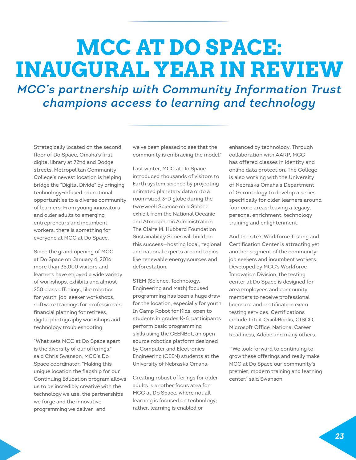 2015 16 Annual Report By Metropolitan Community College Issuu