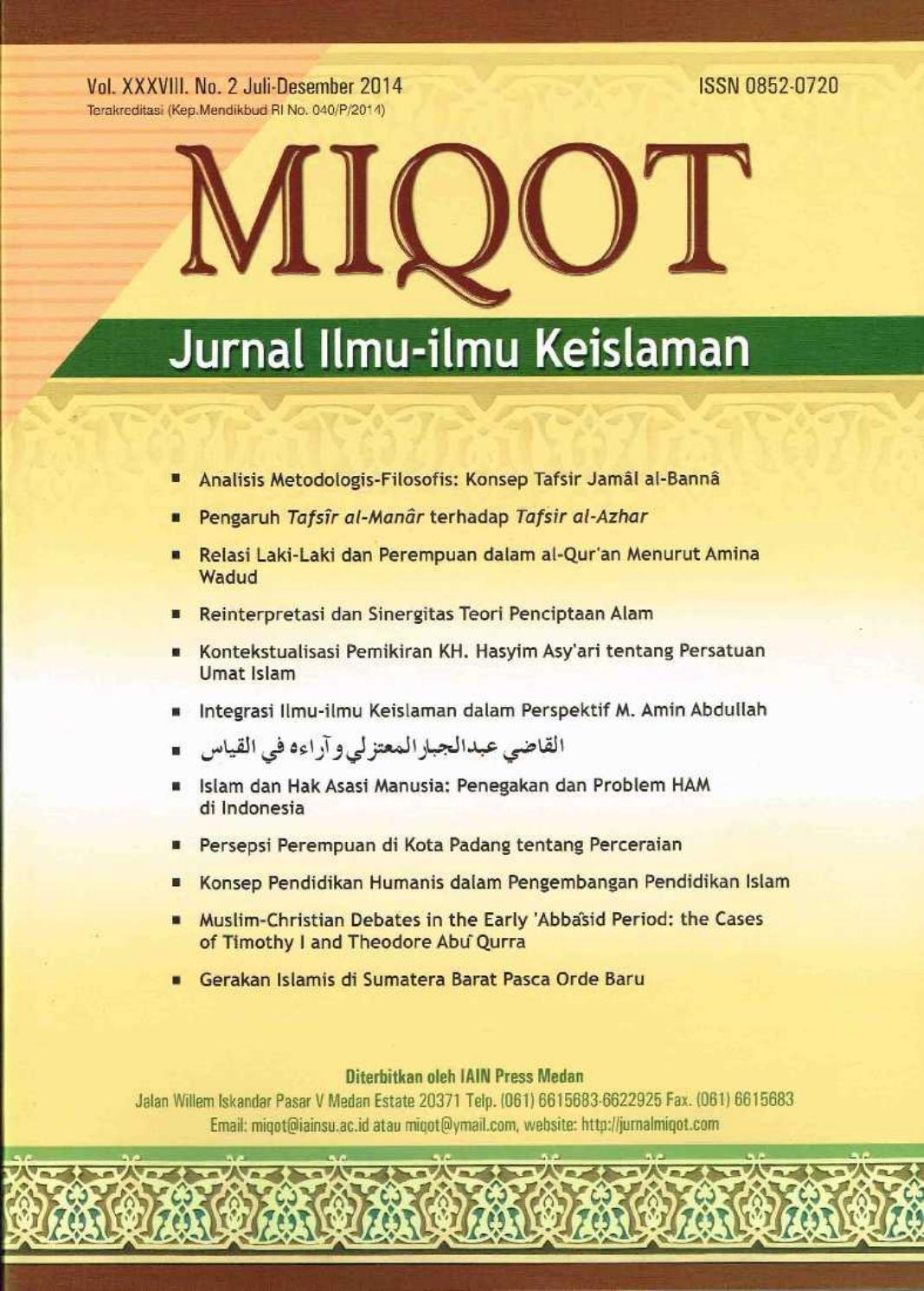 Miqot Xxxviii No 2 Juli Desember 2014 By Miqot Jurnal Ilmu Ilmu