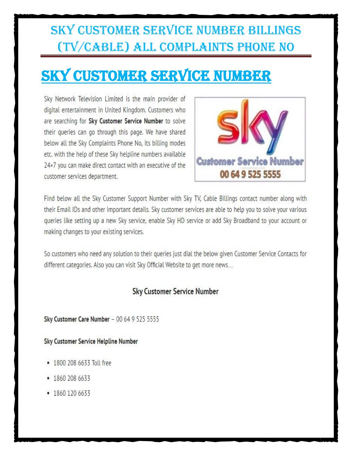 Sky Customer Service Number By Customer Karts Issuu