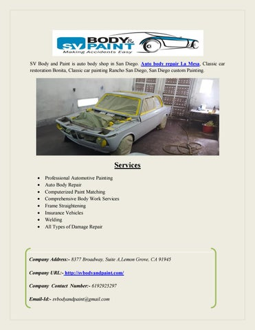Auto Body Repair Services In La Mesa By Hanucomputers Issuu