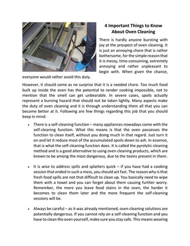 4 important things to know about oven cleaning by andrea johnson issuu 4 important things to know about oven cleaning there is hardly anyone bursting with joy at the prospect of oven cleaning it is just an annoying chore that solutioingenieria Gallery