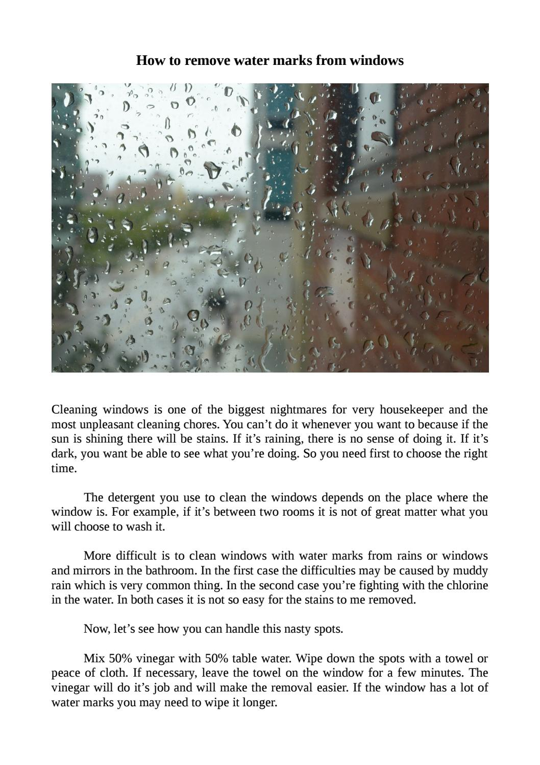 How to remove water marks from windows by Mr. Sparklean - issuu