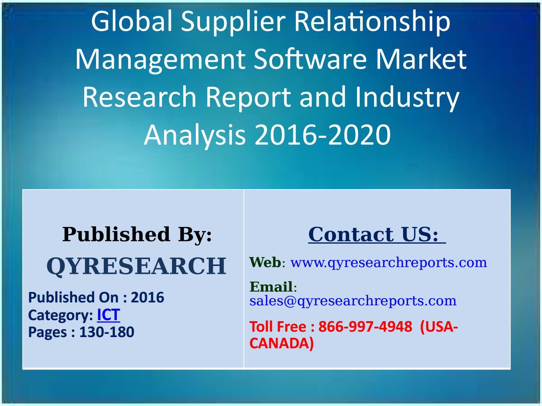 Global Supplier Relationship Management Software Market 2016 Share