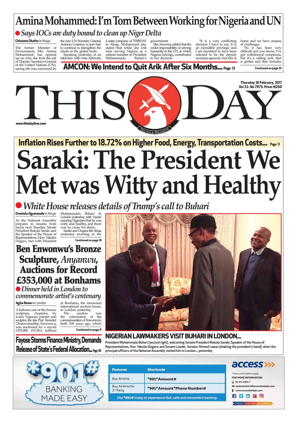 Thursday 16th February 2017 By Thisday Newspapers Ltd Issuu