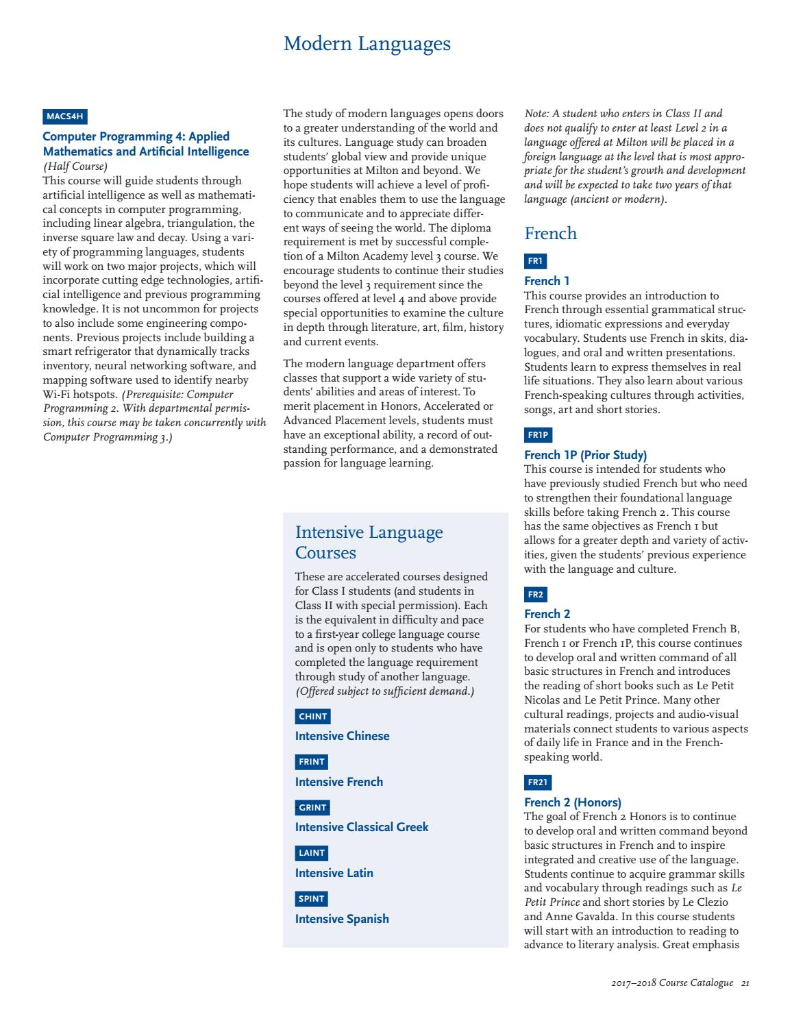 Course Catalogue, 2017–2018 by Milton Academy - issuu
