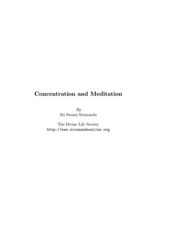 Swami sivananda concentration and meditation by john - issuu