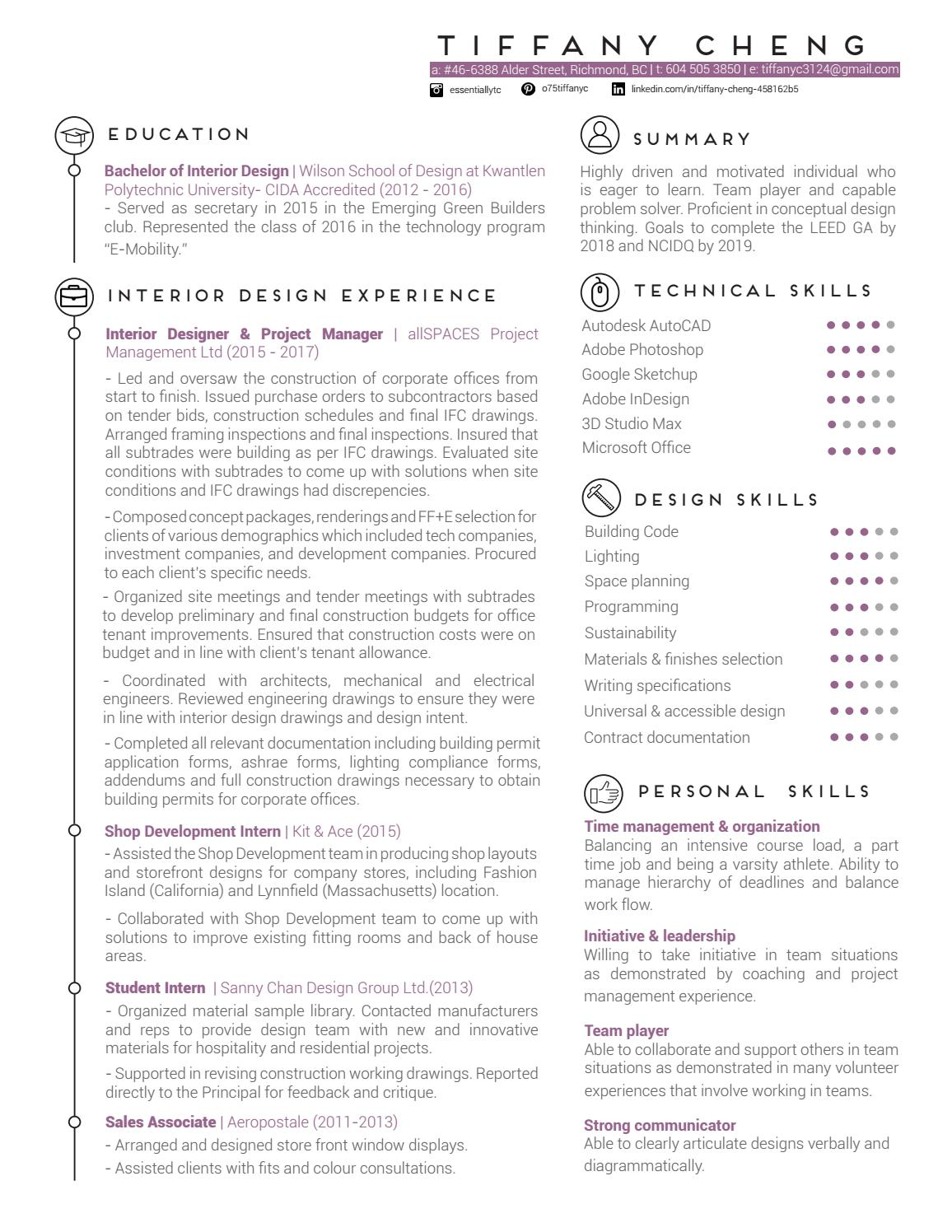 Tiffany Cheng Interior Design Resume By