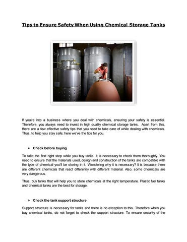 Tips to ensure safety when using chemical storage tanks by