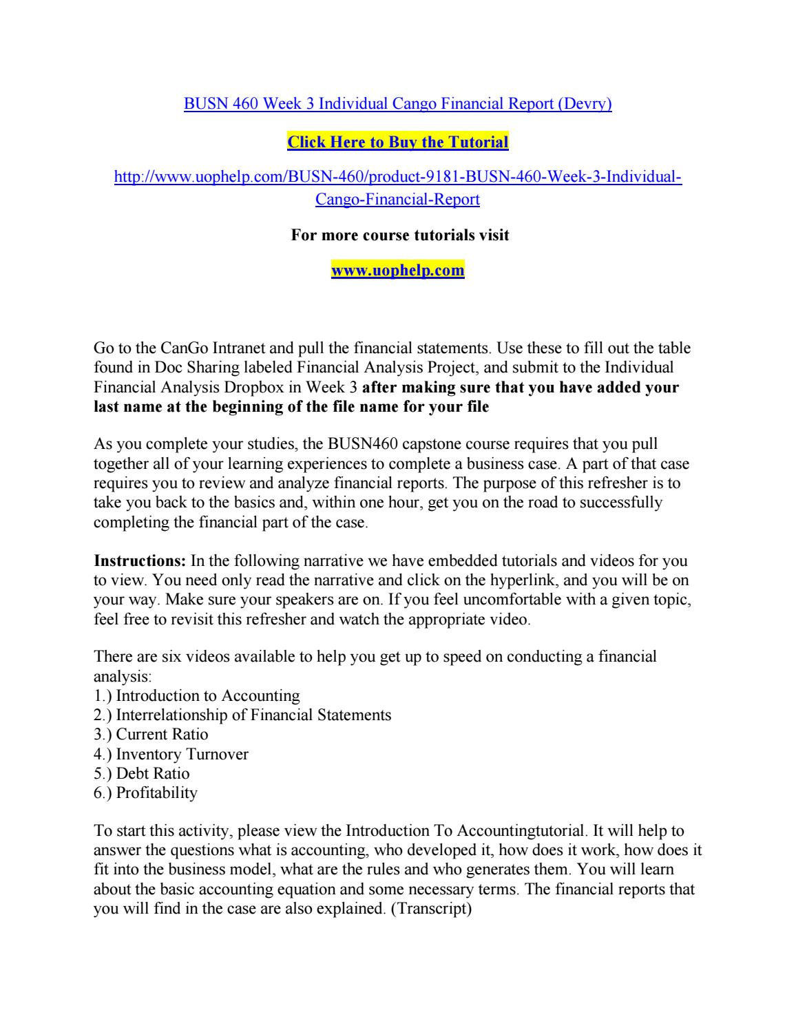 ACC 206 Week 2 DQ 1 Financial Statement Analysis