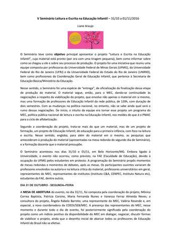 V Seminário Leitura E Escrita Na Educação Infantil By