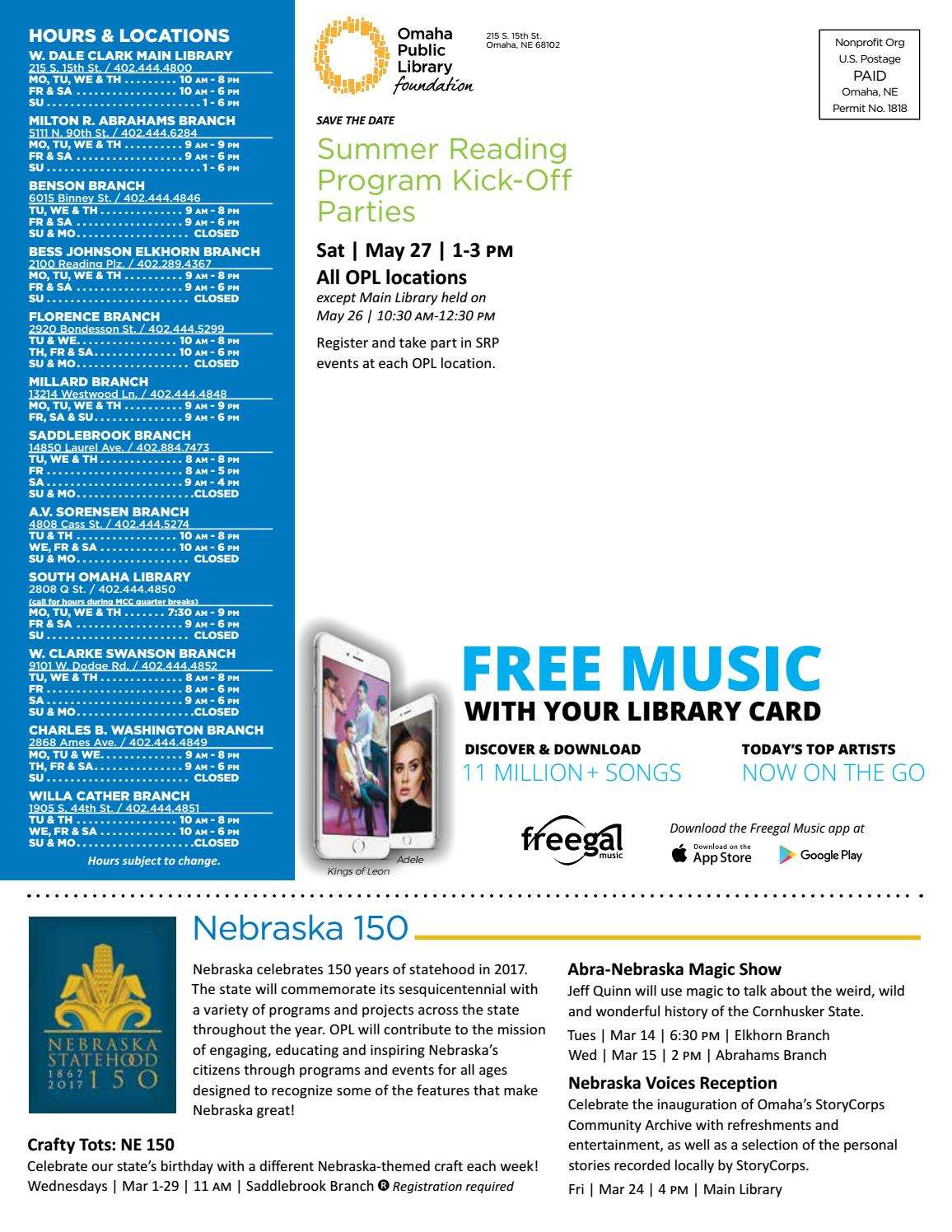 OPL Connect Spring Newsletter 2017 by Omaha Public Library