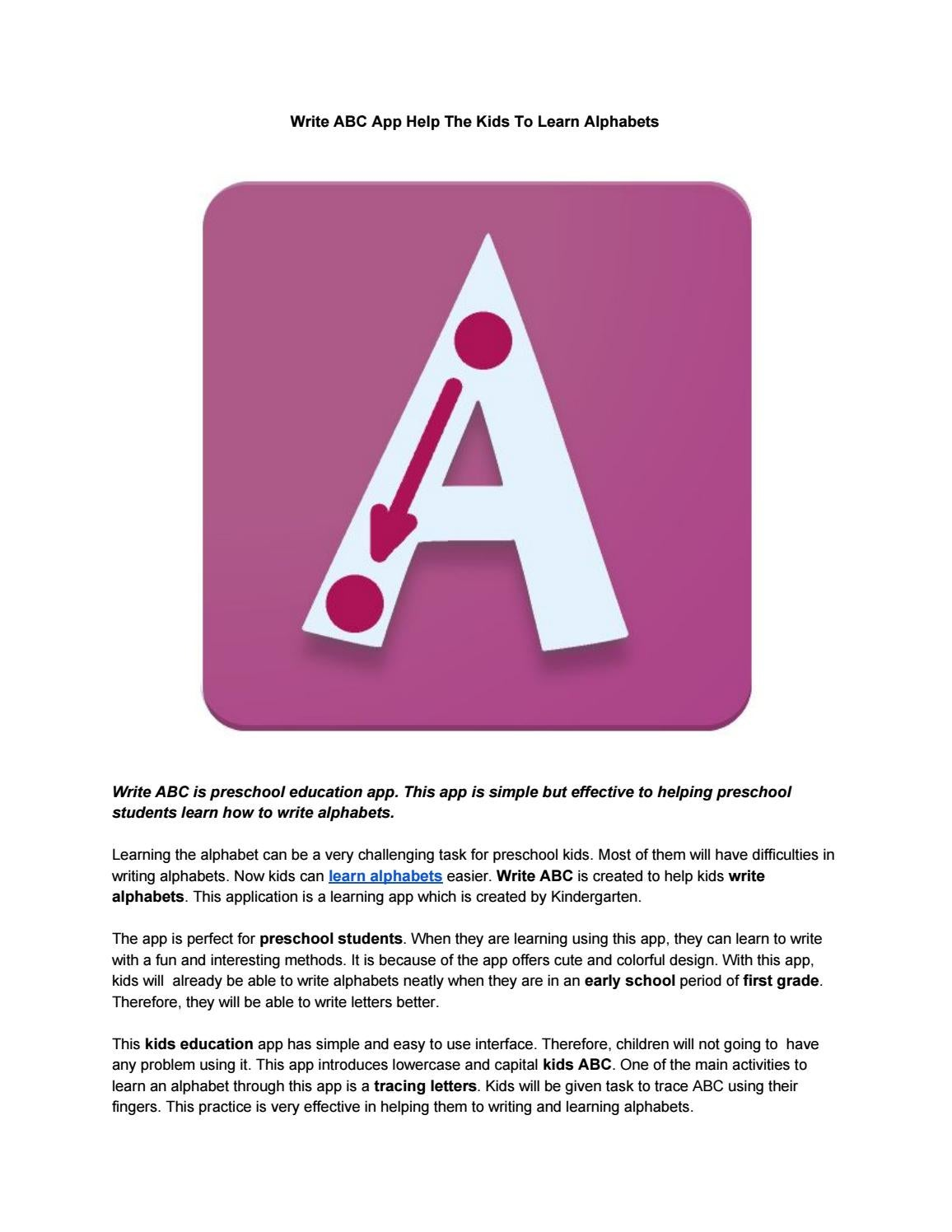 Write ABC App Help The Kids To Learn Alphabets by Demetrius