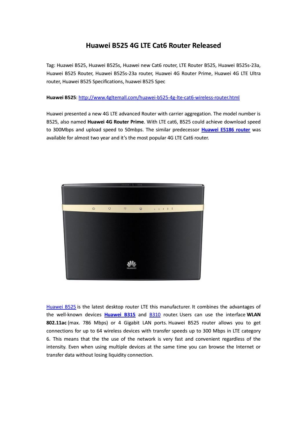 Huawei B525 4G LTE Cat6 Router Released by Lte Mall - issuu