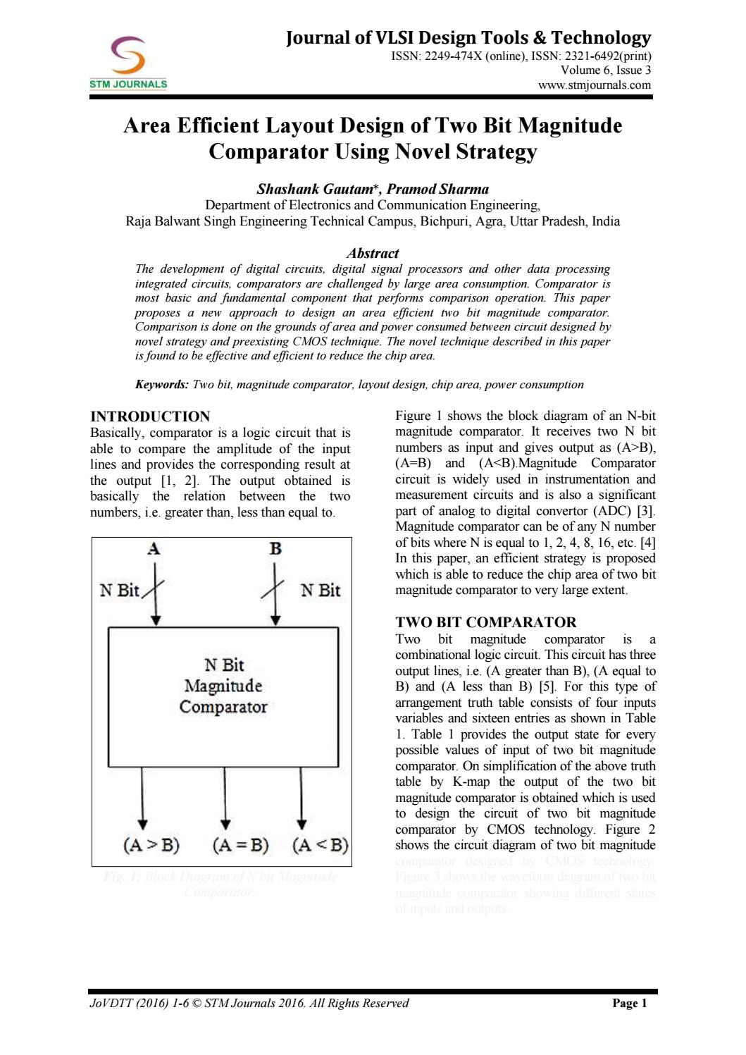 Journal Of Vlsi Design Tools Technology Vol 6 Issue 3 By Stm Circuit Diagram 4 Bit Comparator Journals Issuu
