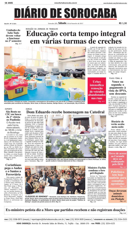 d6afd334c7 Edição 18 de fevereiro 2017 by DIÁRIO DE SOROCABA - issuu