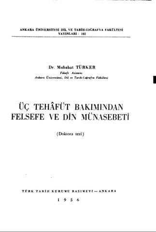 üc Tehafut Mübahat Kuyel Türker Doktora Tezi By Halil Yildirim