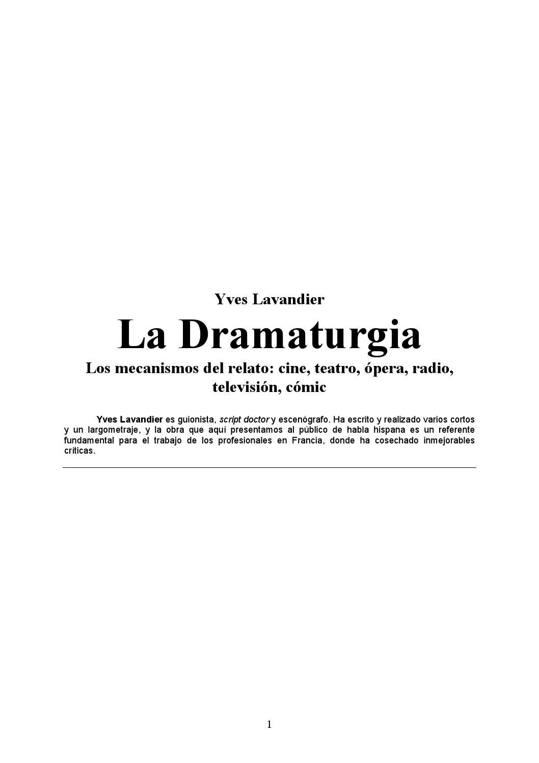 Lavandier la dramaturgia los mecanismos del relato en cine, teatro ...