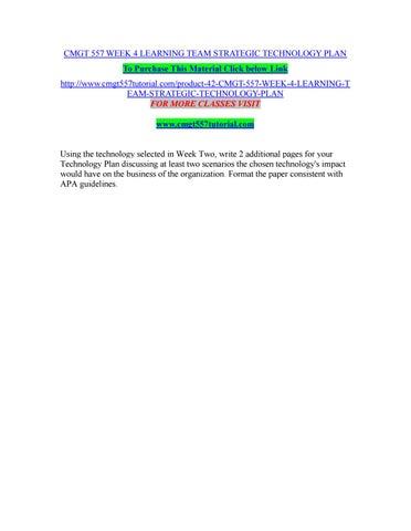 Cmgt 557 week 4 learning team strategic technology plan by ...