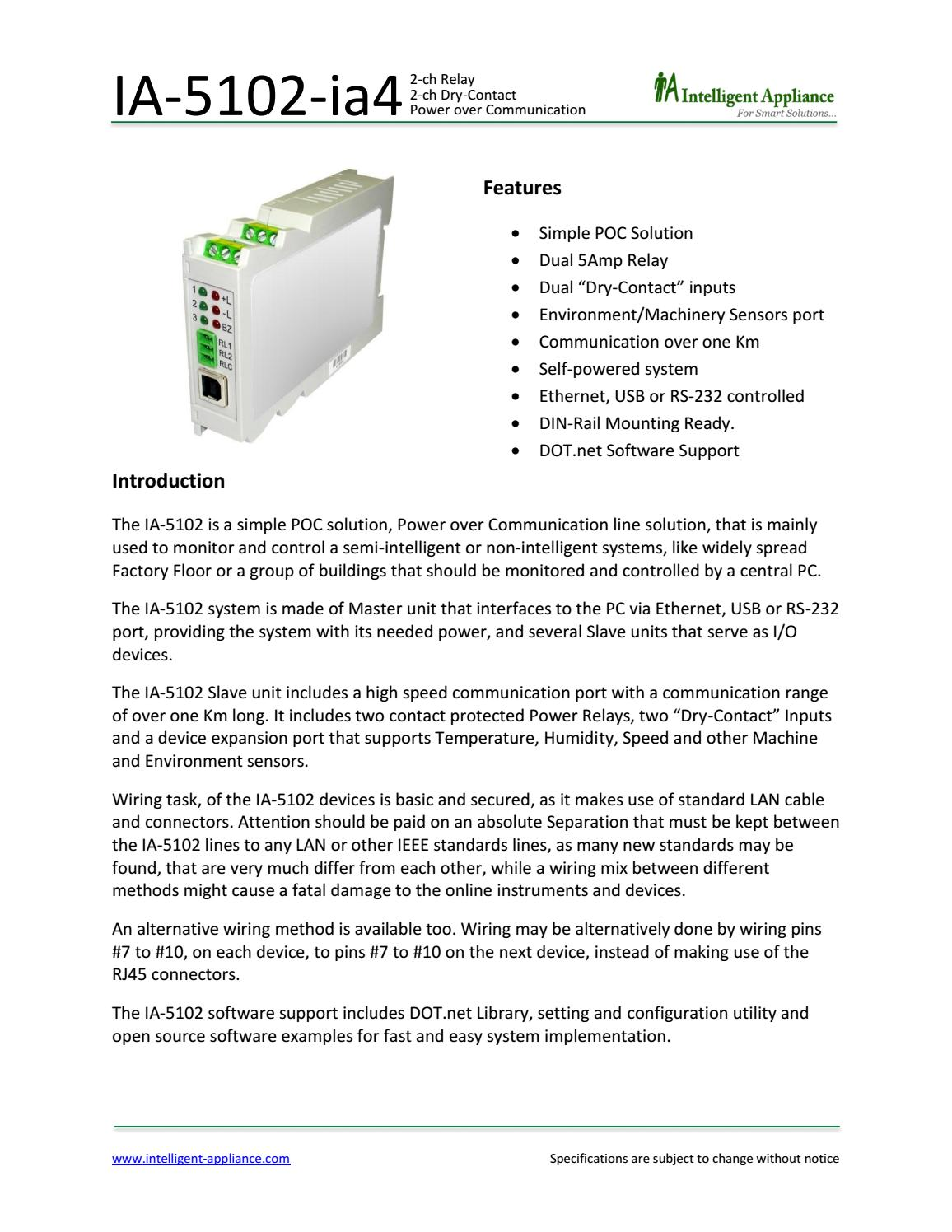 IA-5102-ia4 , Power over Communication 2-ch Relay, 2-ch Dry-Contact