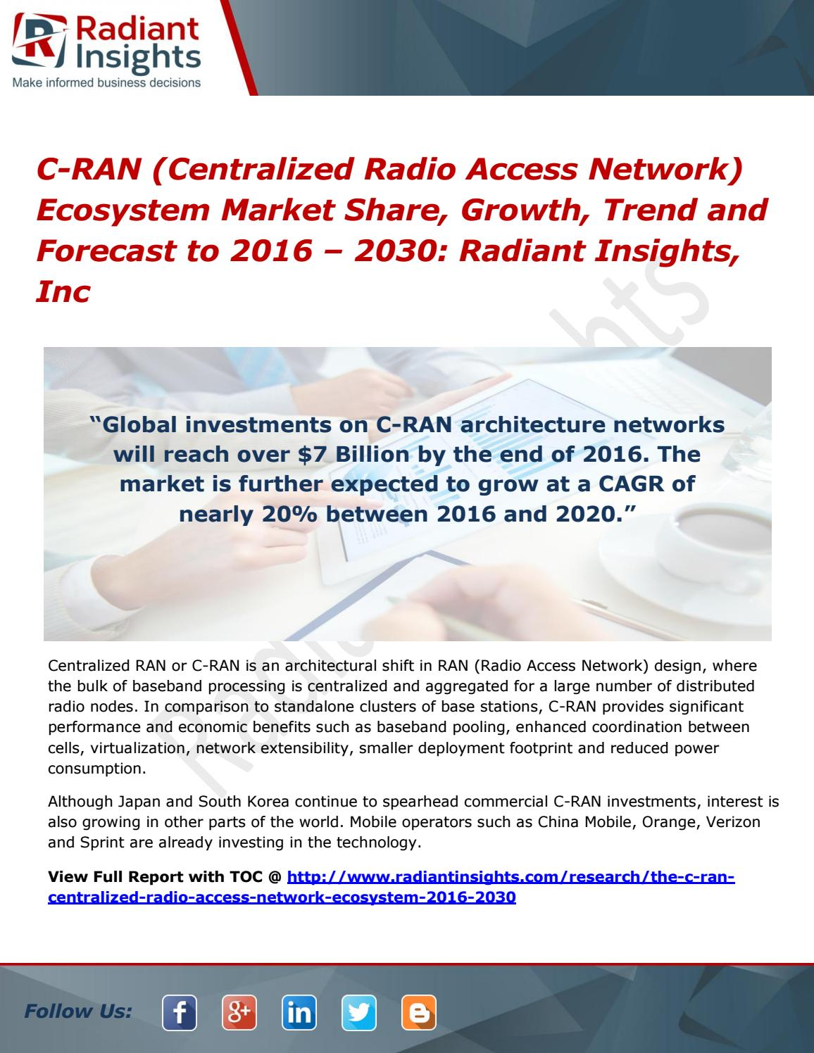 C ran (centralized radio access network) ecosystem market