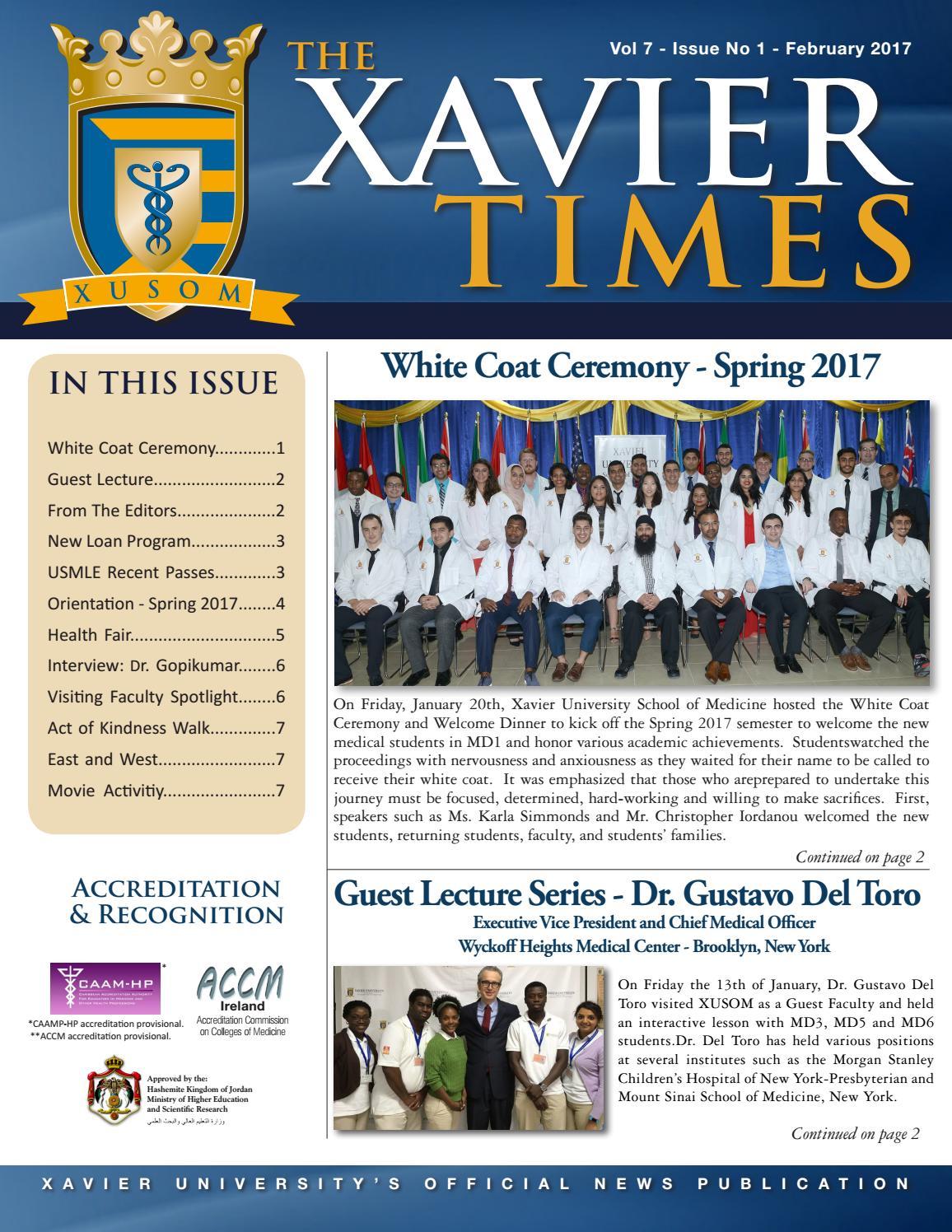 Xavier Times Feb 2017 by Xavier University School of Medicine - issuu