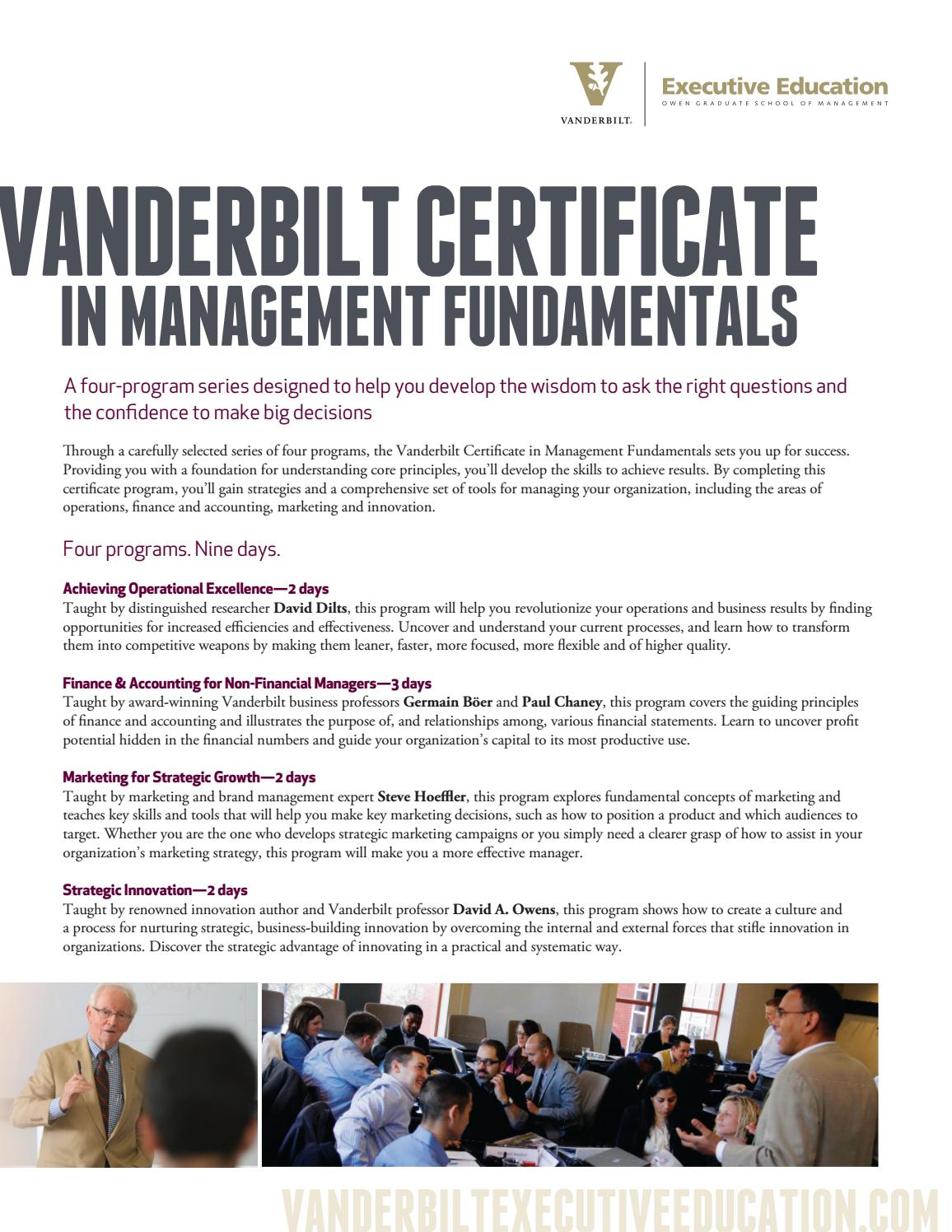 Executive Education Certificate In Mgt Fundamentals By Vanderbilt