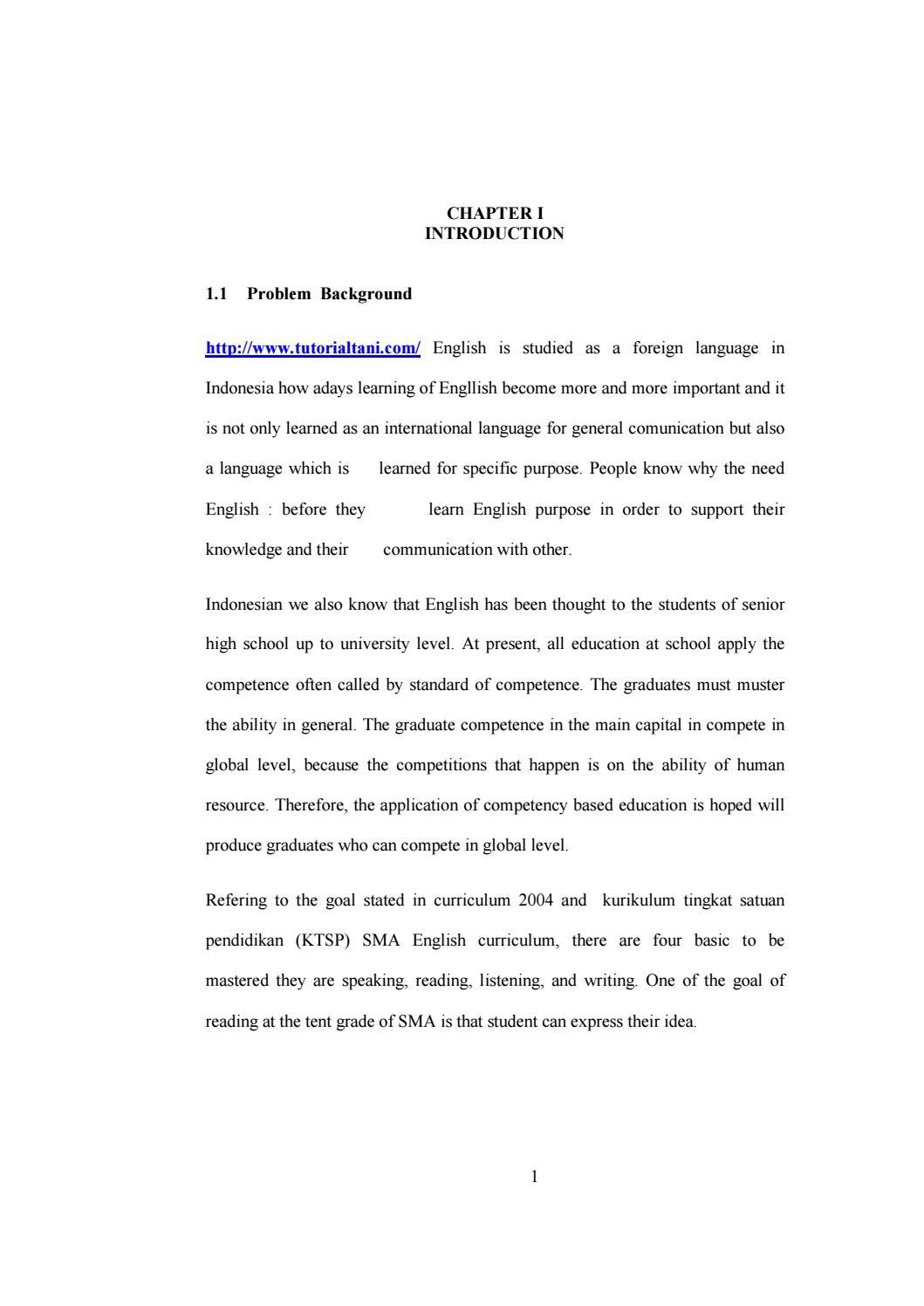 Contoh Skripsi Jurusan Bahasa Inggris Chapter I By Tutorialtani Com Issuu