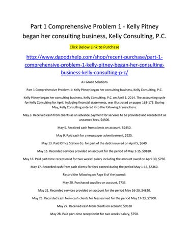 kelly consulting comprehensive problem 1 solution