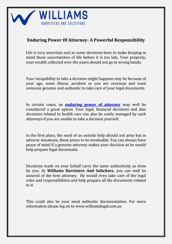 Enduring Power Of Attorney A Powerful Responsibility By Williams - Help with legal documents