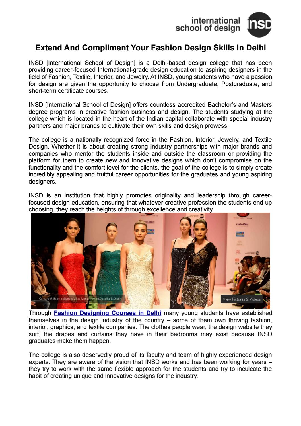 Extend And Compliment Your Fashion Design Skills In Delhi By Insd Paschim Vihar Issuu