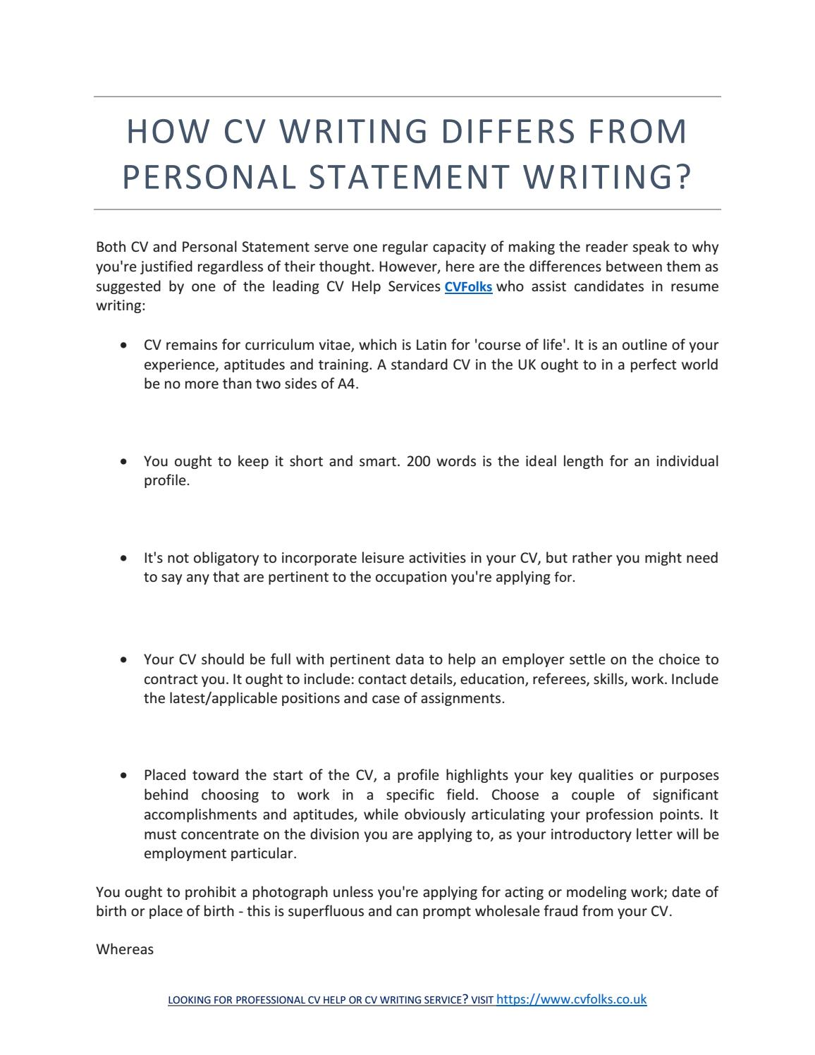 how cv writing differs from personal statement writing by